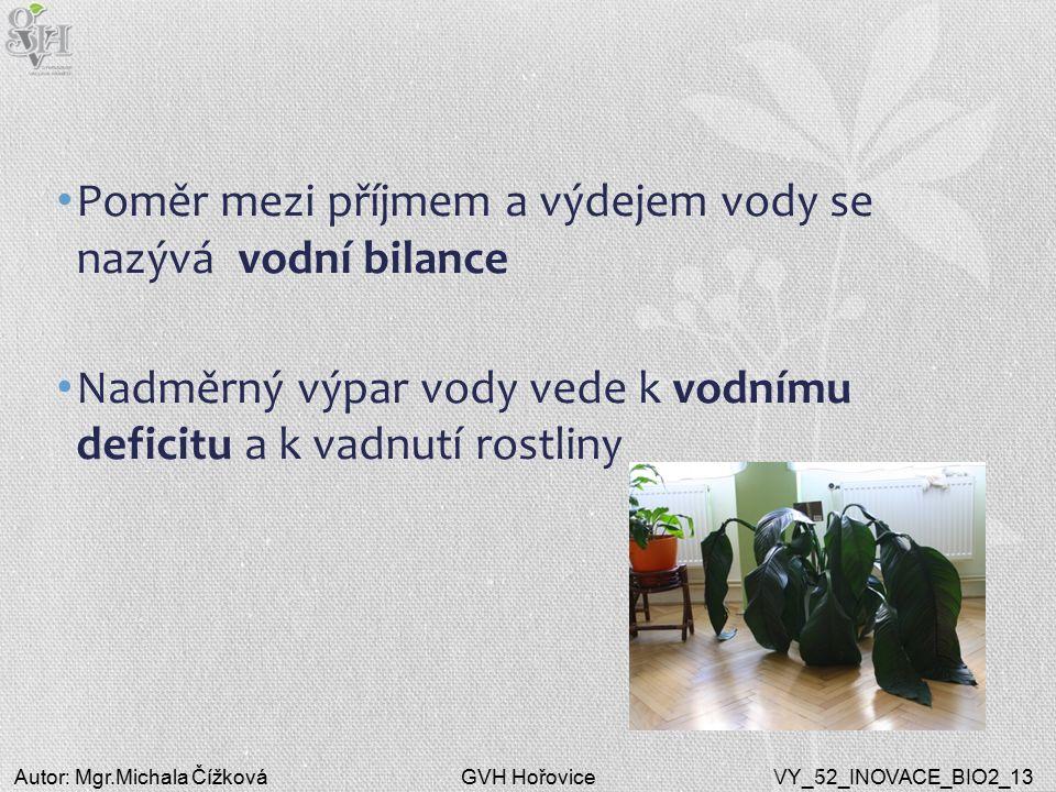 GVH HořoviceAutor: Mgr.Michala ČížkováVY_52_INOVACE_BIO2_13 Poměr mezi příjmem a výdejem vody se nazývá vodní bilance Nadměrný výpar vody vede k vodnímu deficitu a k vadnutí rostliny