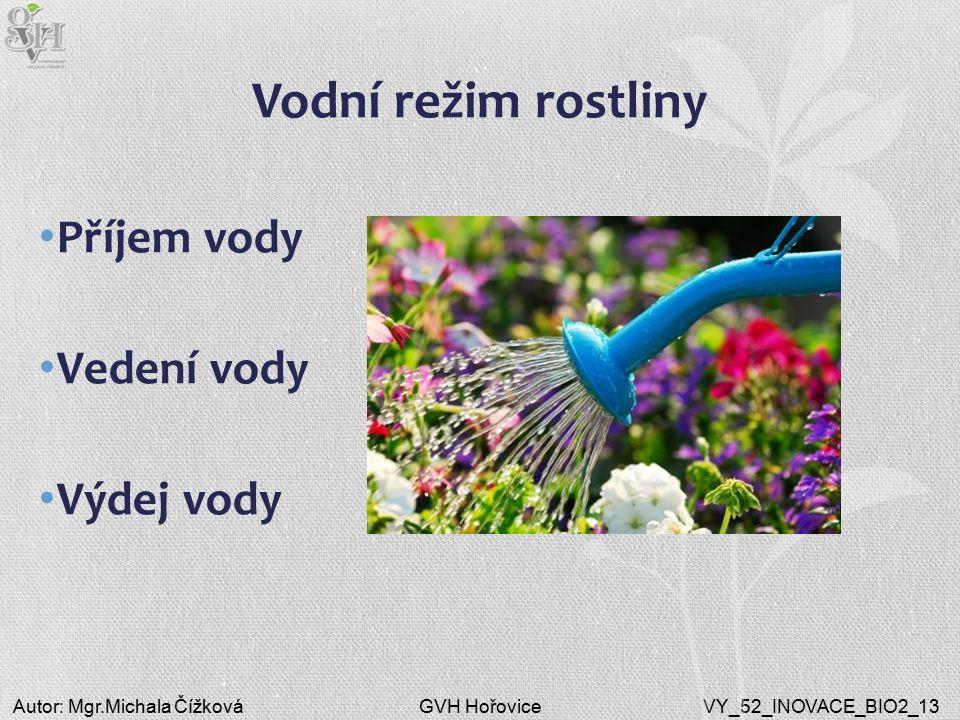 GVH HořoviceAutor: Mgr.Michala ČížkováVY_52_INOVACE_BIO2_13 Vodní režim rostliny Příjem vody Vedení vody Výdej vody