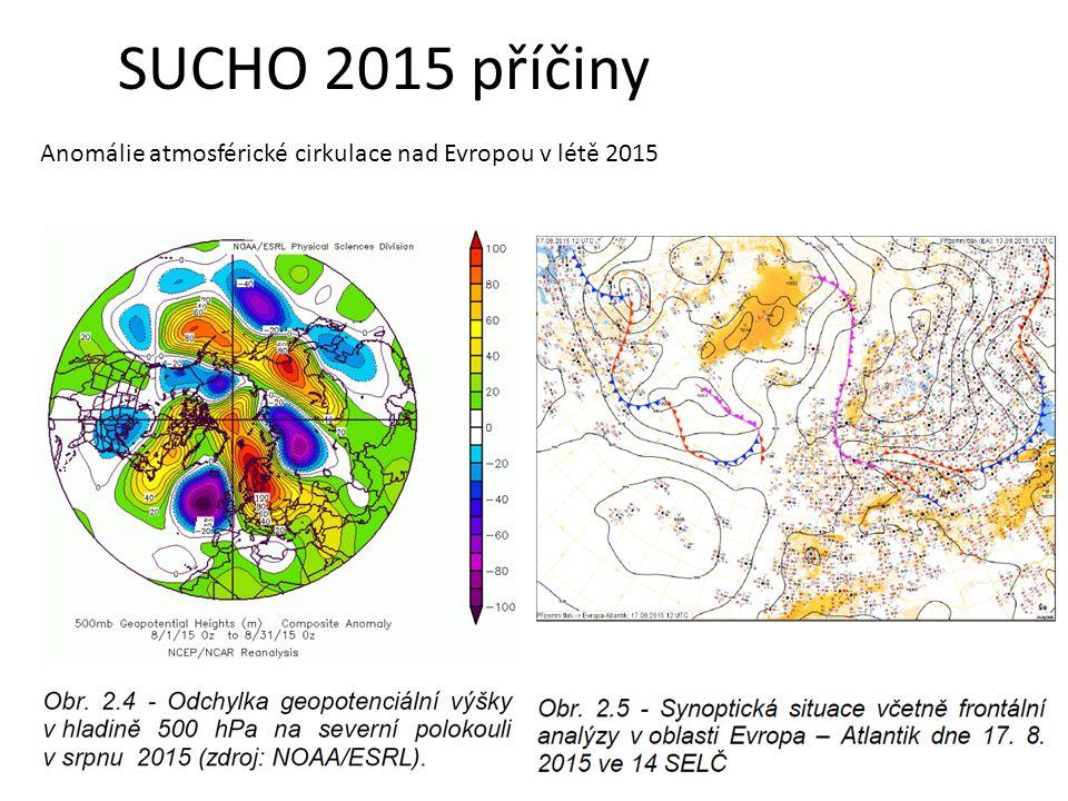 SUCHO 2015 příčiny Anomálie atmosférické cirkulace nad Evropou v létě 2015