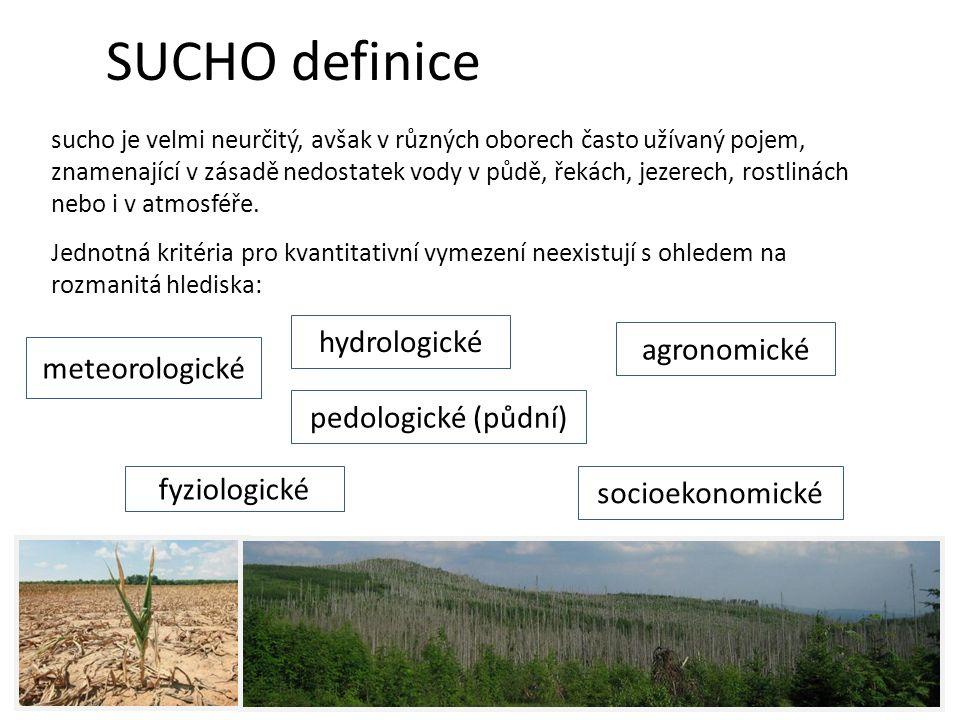 Jednotná kritéria pro kvantitativní vymezení neexistují s ohledem na rozmanitá hlediska: SUCHO definice sucho je velmi neurčitý, avšak v různých oborech často užívaný pojem, znamenající v zásadě nedostatek vody v půdě, řekách, jezerech, rostlinách nebo i v atmosféře.