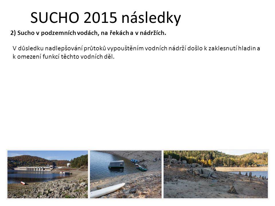 SUCHO 2015 následky V důsledku nadlepšování průtoků vypouštěním vodních nádrží došlo k zaklesnutí hladin a k omezení funkcí těchto vodních děl.