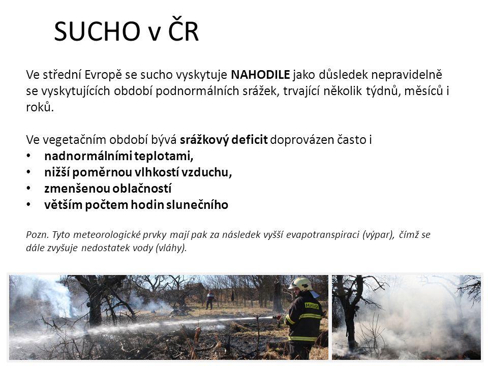 SUCHO v ČR Ve střední Evropě se sucho vyskytuje NAHODILE jako důsledek nepravidelně se vyskytujících období podnormálních srážek, trvající několik týdnů, měsíců i roků.