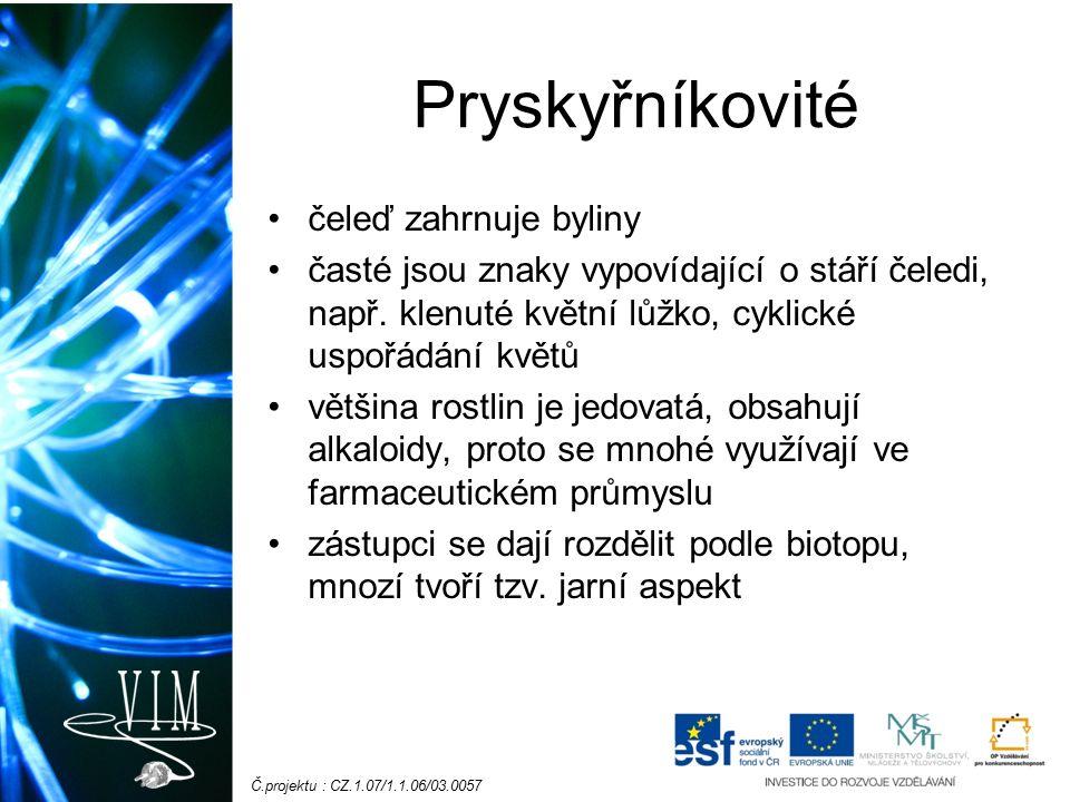 Č.projektu : CZ.1.07/1.1.06/03.0057 Vlhká stanoviště Pryskyřník prudký - jedovatý