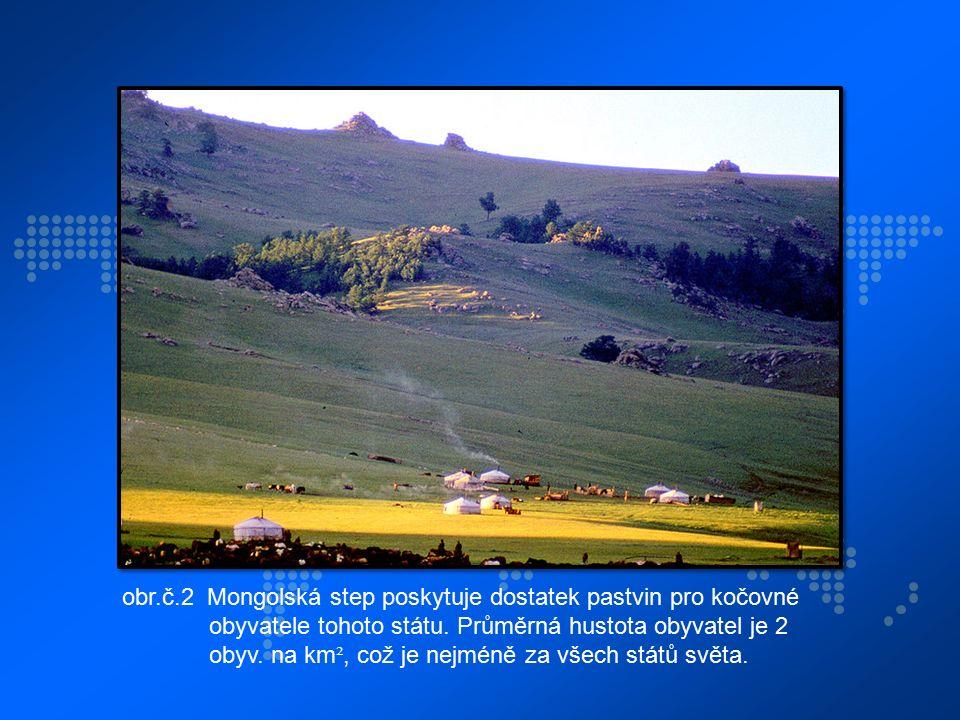 obr.č.2 Mongolská step poskytuje dostatek pastvin pro kočovné obyvatele tohoto státu. Průměrná hustota obyvatel je 2 obyv. na km ², což je nejméně za