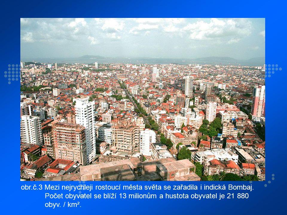obr.č.3 Mezi nejrychleji rostoucí města světa se zařadila i indická Bombaj. Počet obyvatel se blíží 13 milionům a hustota obyvatel je 21 880 obyv. / k
