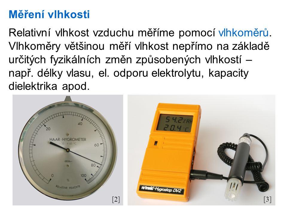 Měření vlhkosti Relativní vlhkost vzduchu měříme pomocí vlhkoměrů.