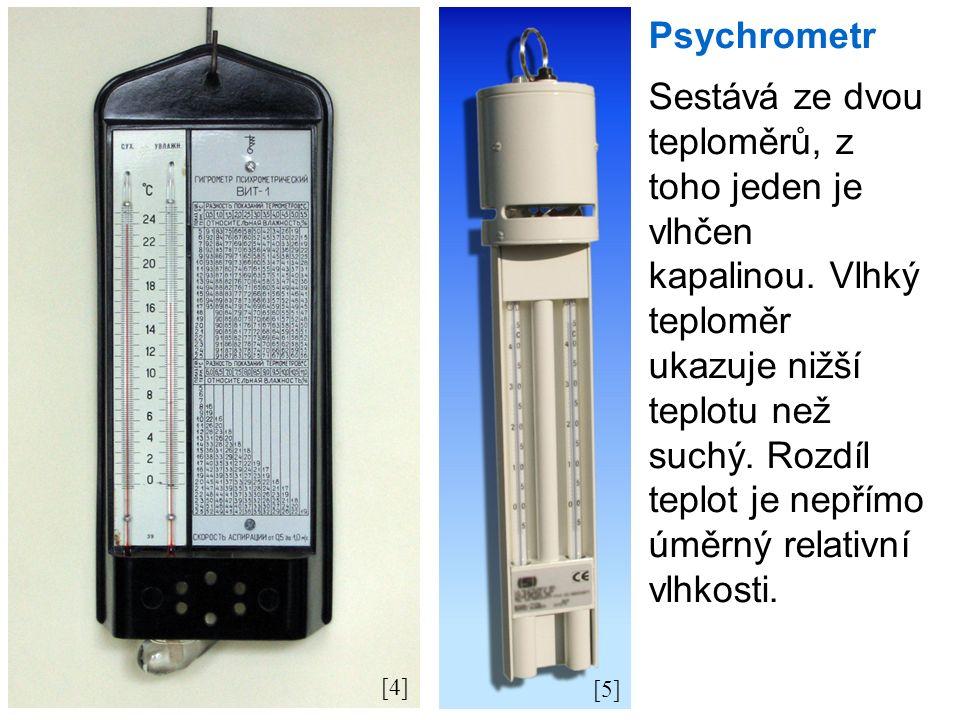 [4] [5] Psychrometr Sestává ze dvou teploměrů, z toho jeden je vlhčen kapalinou.