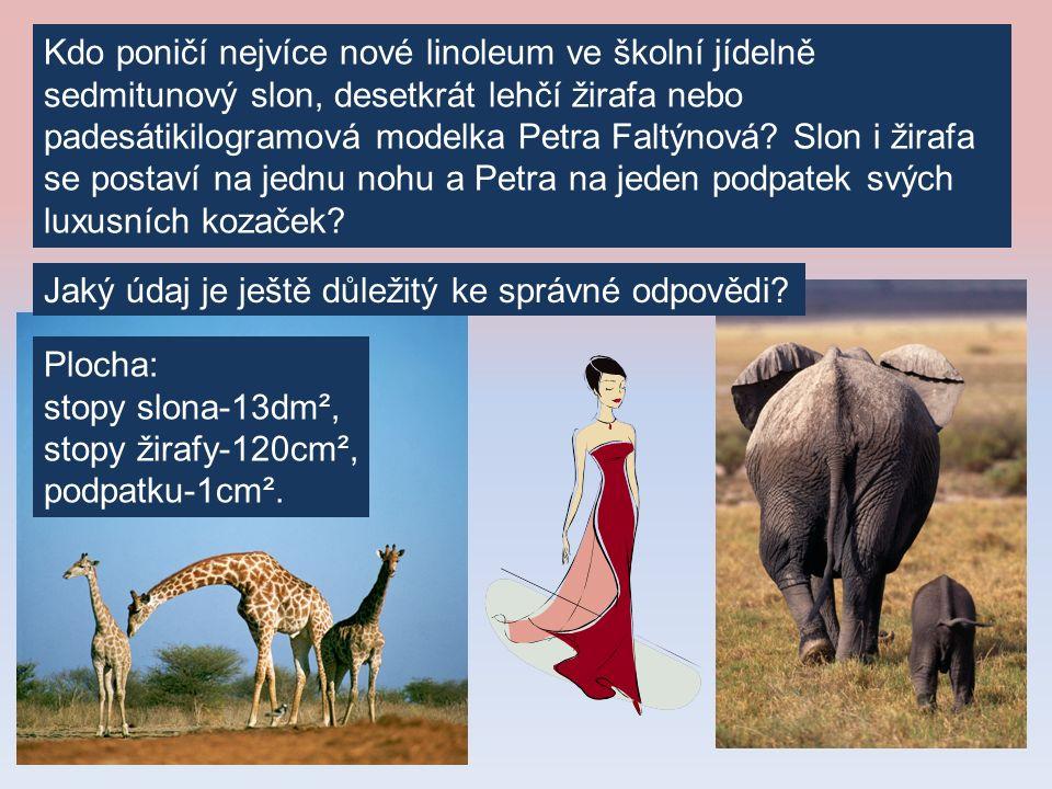 Kdo poničí nejvíce nové linoleum ve školní jídelně sedmitunový slon, desetkrát lehčí žirafa nebo padesátikilogramová modelka Petra Faltýnová.