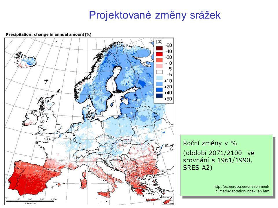Roční změny v % (období 2071/2100 ve srovnání s 1961/1990, SRES A2) http://ec.europa.eu/environment/ climat/adaptation/index_en.htm Projektované změny srážek