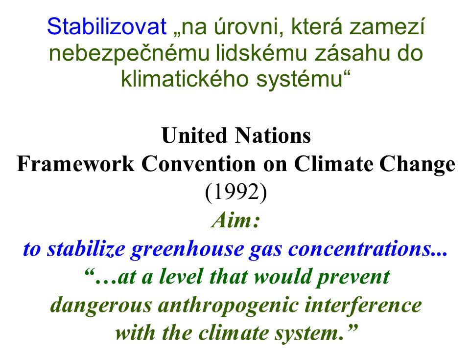 """Stabilizovat """"na úrovni, která zamezí nebezpečnému lidskému zásahu do klimatického systému"""" United Nations Framework Convention on Climate Change (199"""