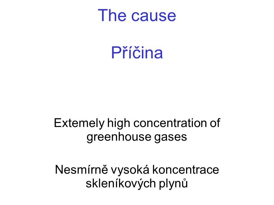 The cause Příčina Extemely high concentration of greenhouse gases Nesmírně vysoká koncentrace skleníkových plynů