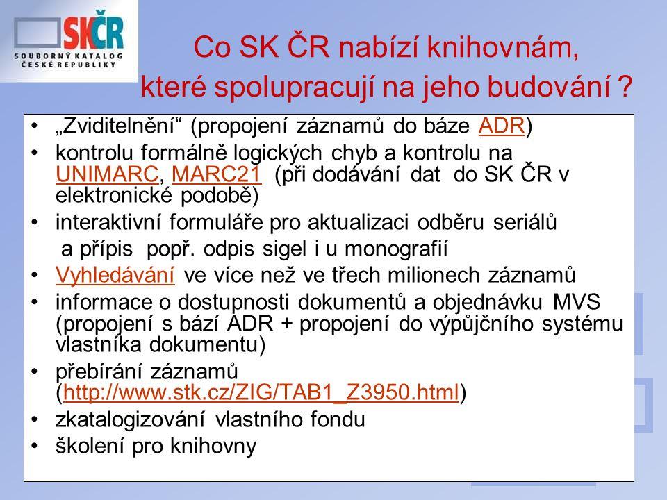 """12 Co SK ČR nabízí knihovnám, které spolupracují na jeho budování ? """"Zviditelnění"""" (propojení záznamů do báze ADR)ADR kontrolu formálně logických chyb"""