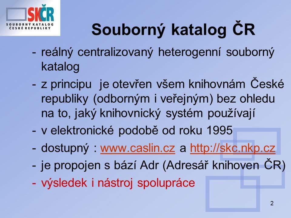 2 Souborný katalog ČR -reálný centralizovaný heterogenní souborný katalog -z principu je otevřen všem knihovnám České republiky (odborným i veřejným) bez ohledu na to, jaký knihovnický systém používají -v elektronické podobě od roku 1995 -dostupný : www.caslin.cz a http://skc.nkp.czwww.caslin.czhttp://skc.nkp.cz -je propojen s bází Adr (Adresář knihoven ČR) -výsledek i nástroj spolupráce