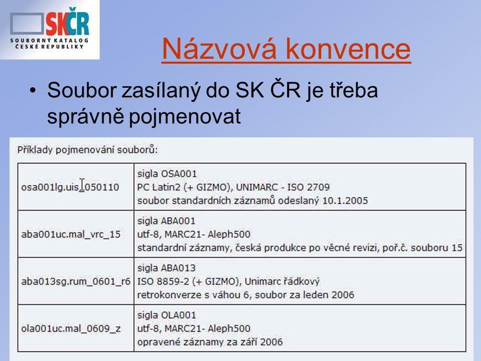 21 Názvová konvence Soubor zasílaný do SK ČR je třeba správně pojmenovat