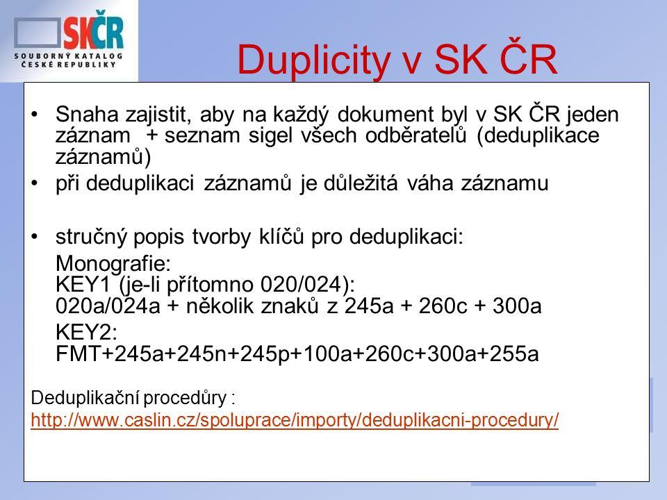 34 Duplicity v SK ČR Snaha zajistit, aby na každý dokument byl v SK ČR jeden záznam + seznam sigel všech odběratelů (deduplikace záznamů) při deduplikaci záznamů je důležitá váha záznamu stručný popis tvorby klíčů pro deduplikaci: Monografie: KEY1 (je-li přítomno 020/024): 020a/024a + několik znaků z 245a + 260c + 300a KEY2: FMT+245a+245n+245p+100a+260c+300a+255a Deduplikační procedůry : http://www.caslin.cz/spoluprace/importy/deduplikacni-procedury/