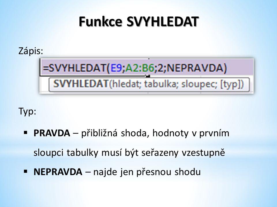 Funkce SVYHLEDAT Zápis:  PRAVDA – přibližná shoda, hodnoty v prvním sloupci tabulky musí být seřazeny vzestupně  NEPRAVDA – najde jen přesnou shodu Typ: