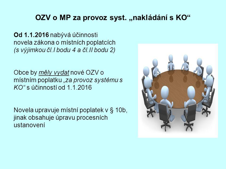 """OZV o MP za provoz syst. """"nakládání s KO"""" Od 1.1.2016 nabývá účinnosti novela zákona o místních poplatcích (s výjimkou čl.I bodu 4 a čl.II bodu 2) Obc"""