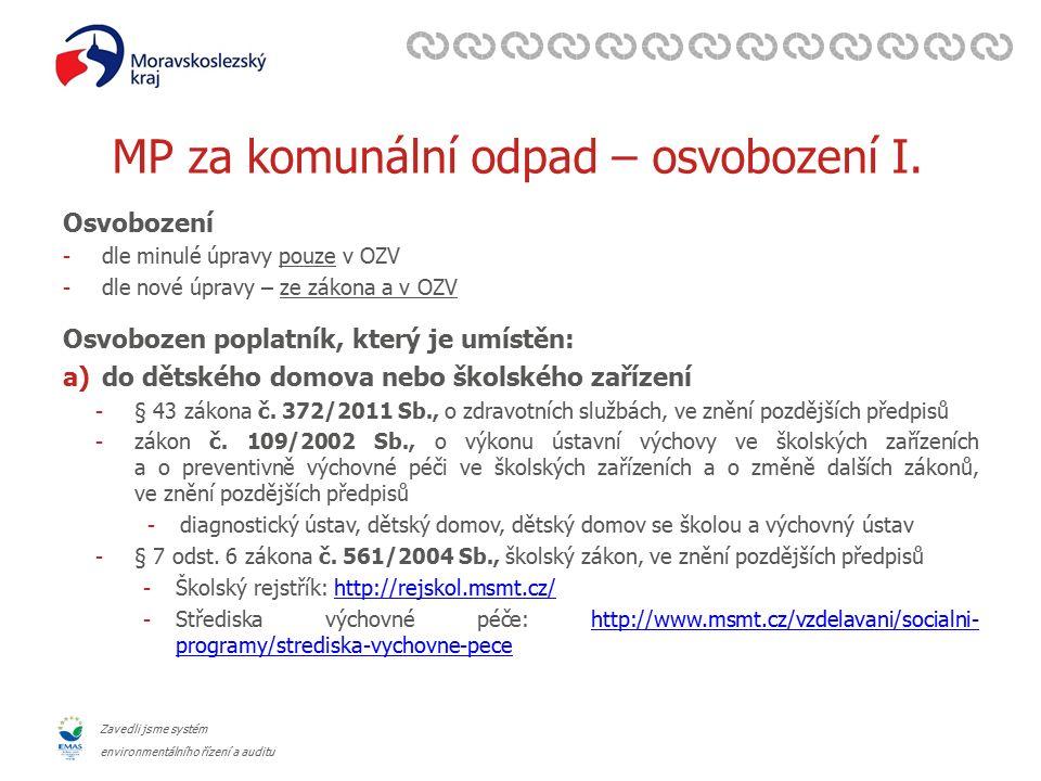 Zavedli jsme systém environmentálního řízení a auditu MP za komunální odpad – osvobození I. Osvobození -dle minulé úpravy pouze v OZV -dle nové úpravy