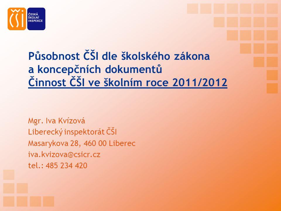 Působnost ČŠI dle školského zákona a koncepčních dokumentů Činnost ČŠI ve školním roce 2011/2012 Mgr.