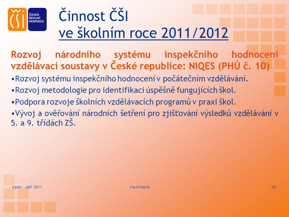 Činnost ČŠI ve školním roce 2011/2012 Rozvoj národního systému inspekčního hodnocení vzdělávací soustavy v České republice: NIQES (PHÚ č.