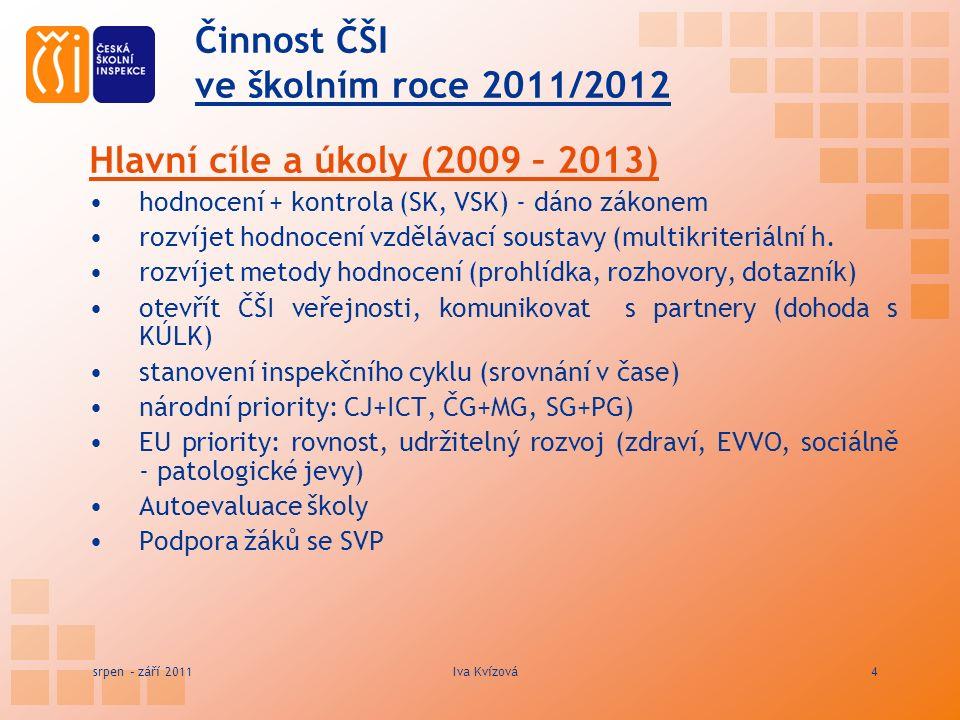 Činnost ČŠI ve školním roce 2011/2012 Hlavní cíle a úkoly (2009 – 2013) hodnocení + kontrola (SK, VSK) - dáno zákonem rozvíjet hodnocení vzdělávací soustavy (multikriteriální h.
