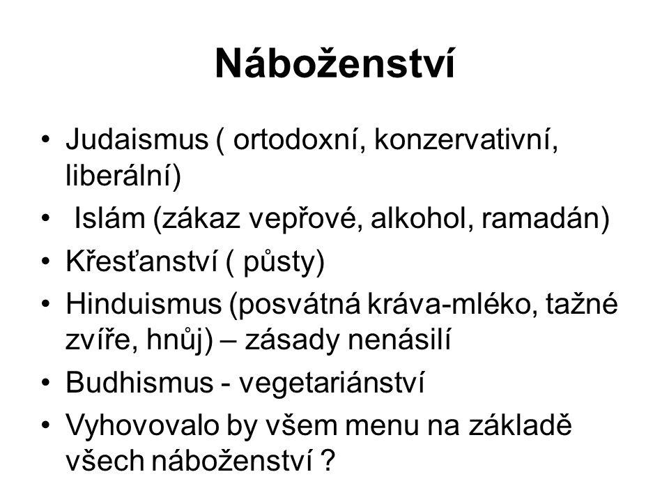 Náboženství Judaismus ( ortodoxní, konzervativní, liberální) Islám (zákaz vepřové, alkohol, ramadán) Křesťanství ( půsty) Hinduismus (posvátná kráva-mléko, tažné zvíře, hnůj) – zásady nenásilí Budhismus - vegetariánství Vyhovovalo by všem menu na základě všech náboženství