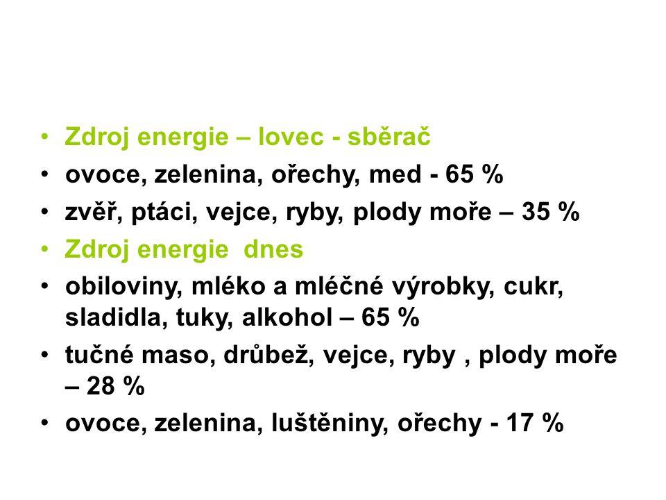 Zdroj energie – lovec - sběrač ovoce, zelenina, ořechy, med - 65 % zvěř, ptáci, vejce, ryby, plody moře – 35 % Zdroj energie dnes obiloviny, mléko a mléčné výrobky, cukr, sladidla, tuky, alkohol – 65 % tučné maso, drůbež, vejce, ryby, plody moře – 28 % ovoce, zelenina, luštěniny, ořechy - 17 %
