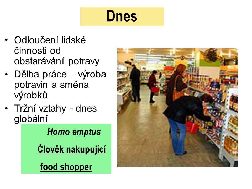 Dnes Odloučení lidské činnosti od obstarávání potravy Dělba práce – výroba potravin a směna výrobků Tržní vztahy - dnes globální Homo emptus Člověk nakupující food shopper
