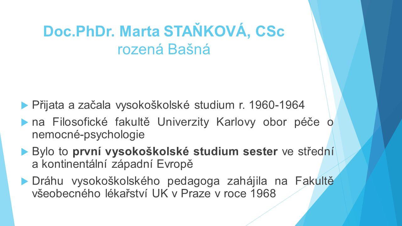  Přijata a začala vysokoškolské studium r. 1960-1964  na Filosofické fakultě Univerzity Karlovy obor péče o nemocné-psychologie  Bylo to první vyso