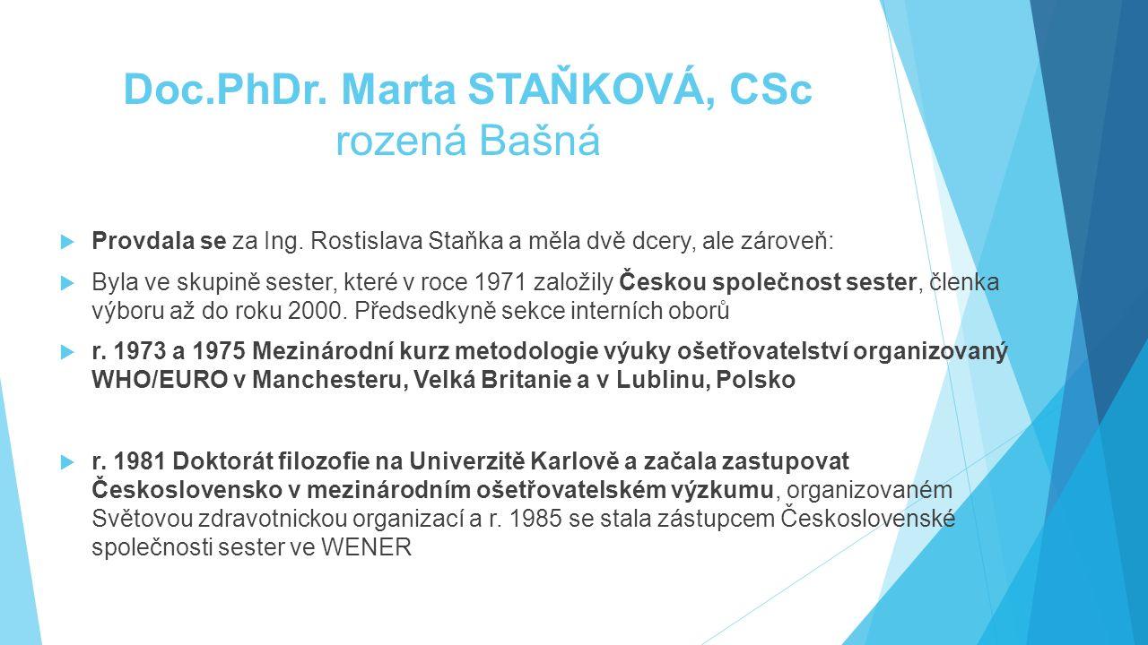 Doc.PhDr. Marta STAŇKOVÁ, CSc rozená Bašná  Provdala se za Ing. Rostislava Staňka a měla dvě dcery, ale zároveň:  Byla ve skupině sester, které v ro