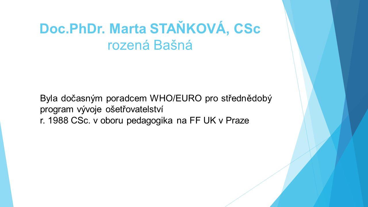Doc.PhDr. Marta STAŇKOVÁ, CSc rozená Bašná Byla dočasným poradcem WHO/EURO pro střednědobý program vývoje ošetřovatelství r. 1988 CSc. v oboru pedagog