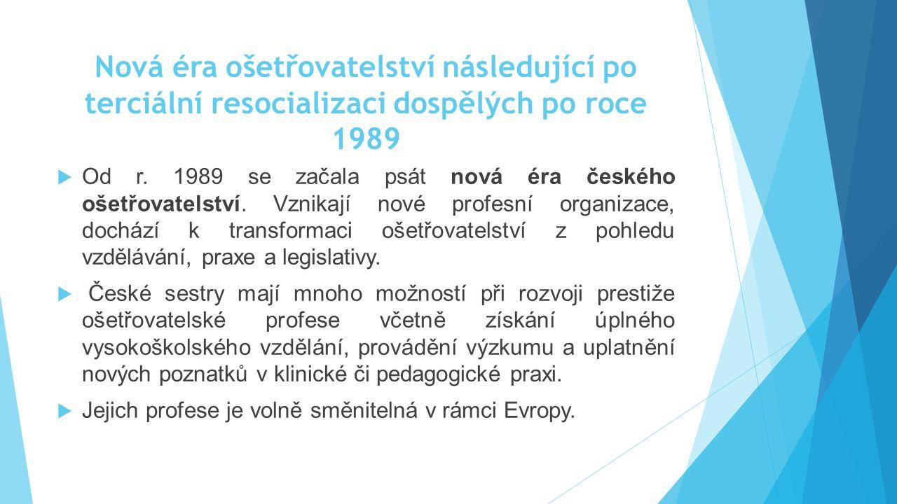 Nová éra ošetřovatelství následující po terciální resocializaci dospělých po roce 1989  Od r. 1989 se začala psát nová éra českého ošetřovatelství. V