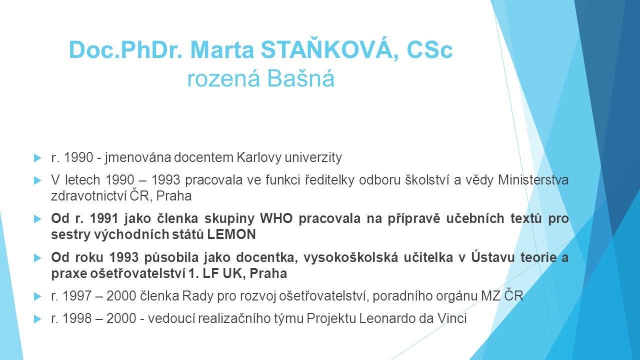 Doc.PhDr. Marta STAŇKOVÁ, CSc rozená Bašná  r. 1990 - jmenována docentem Karlovy univerzity  V letech 1990 – 1993 pracovala ve funkci ředitelky odbo