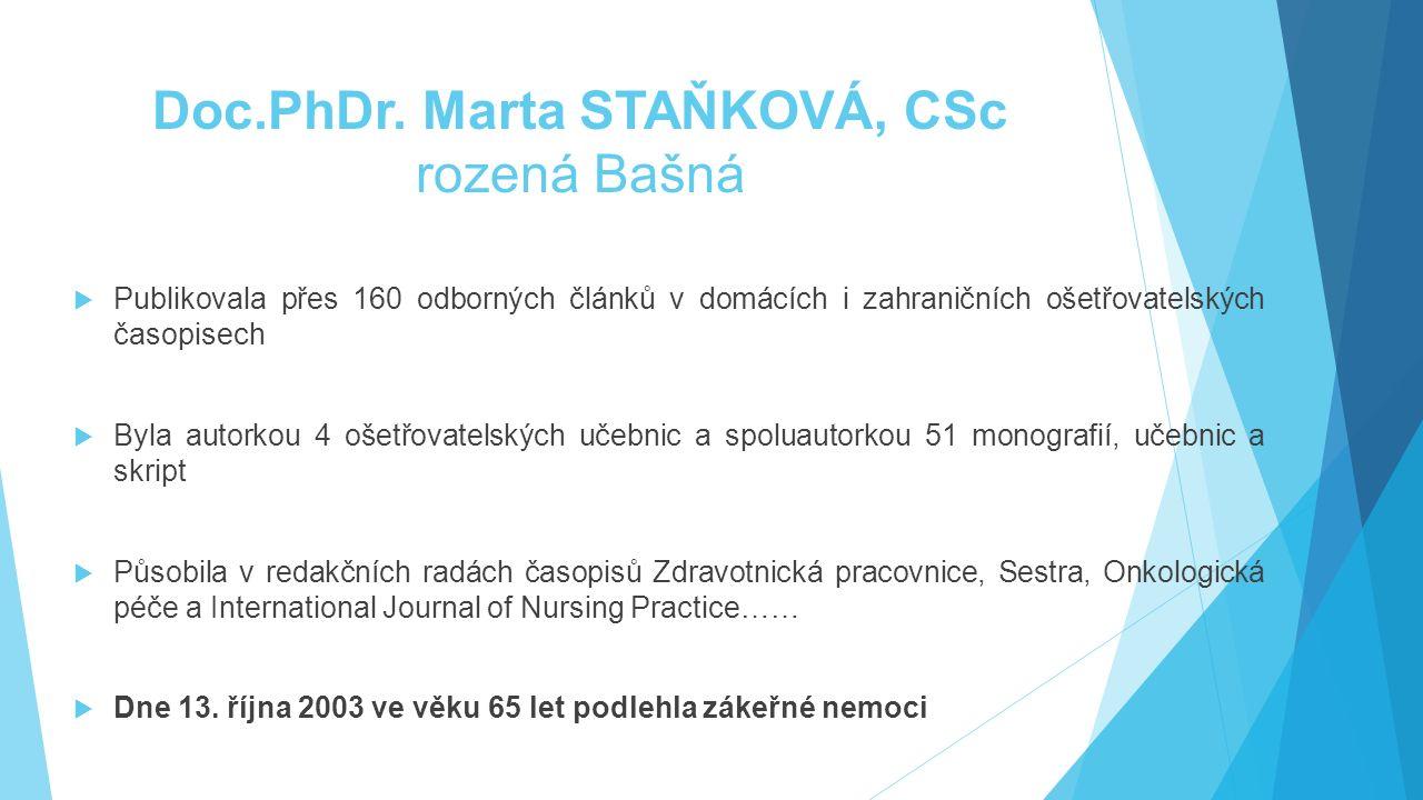 Doc.PhDr. Marta STAŇKOVÁ, CSc rozená Bašná  Publikovala přes 160 odborných článků v domácích i zahraničních ošetřovatelských časopisech  Byla autork