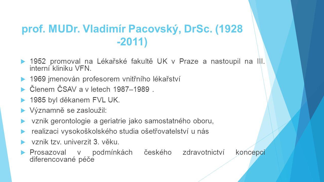 prof. MUDr. Vladimír Pacovský, DrSc. (1928 -2011)  1952 promoval na Lékařské fakultě UK v Praze a nastoupil na III. interní kliniku VFN.  1969 jmeno