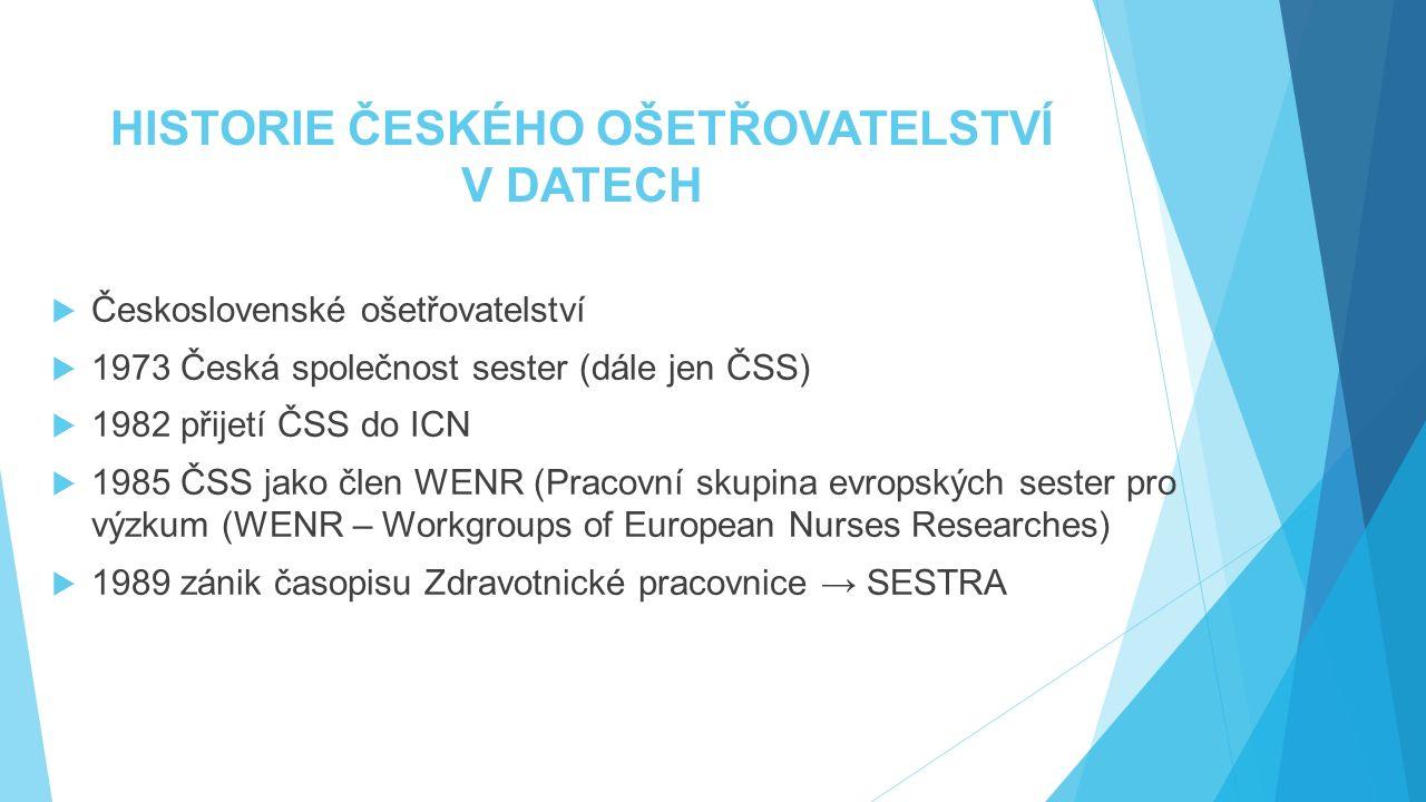 HISTORIE ČESKÉHO OŠETŘOVATELSTVÍ V DATECH  Československé ošetřovatelství  1973 Česká společnost sester (dále jen ČSS)  1982 přijetí ČSS do ICN  1