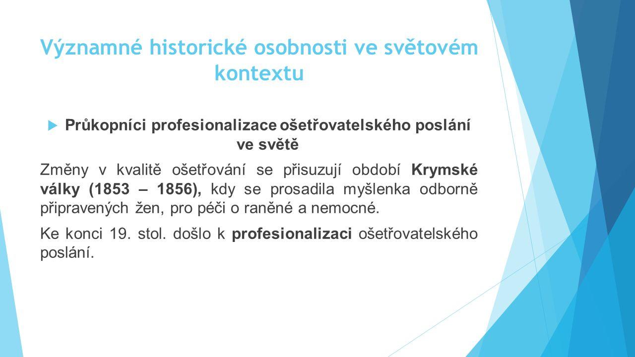 Významné historické osobnosti ve světovém kontextu  Průkopníci profesionalizace ošetřovatelského poslání ve světě Změny v kvalitě ošetřování se přisu
