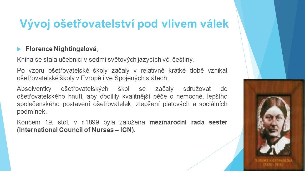 Vývoj ošetřovatelství pod vlivem válek  Florence Nightingalová, Kniha se stala učebnicí v sedmi světových jazycích vč. češtiny. Po vzoru ošetřovatels