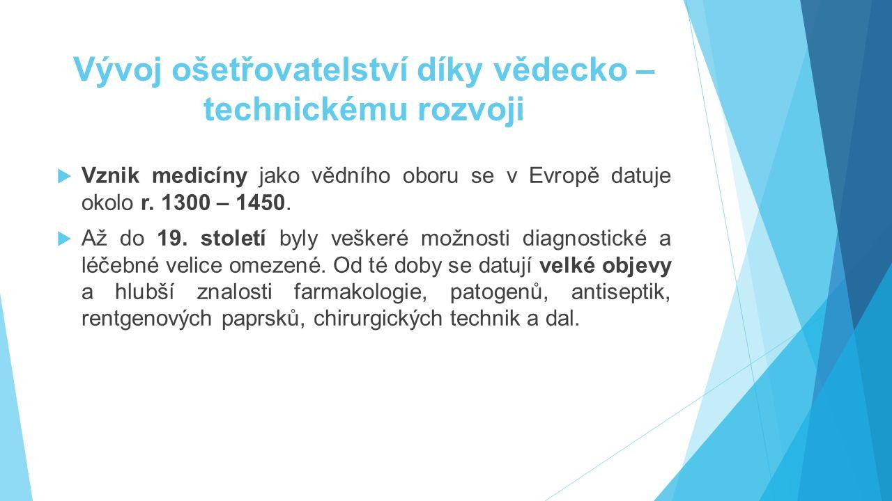 Vývoj ošetřovatelství díky vědecko – technickému rozvoji  Vznik medicíny jako vědního oboru se v Evropě datuje okolo r. 1300 – 1450.  Až do 19. stol