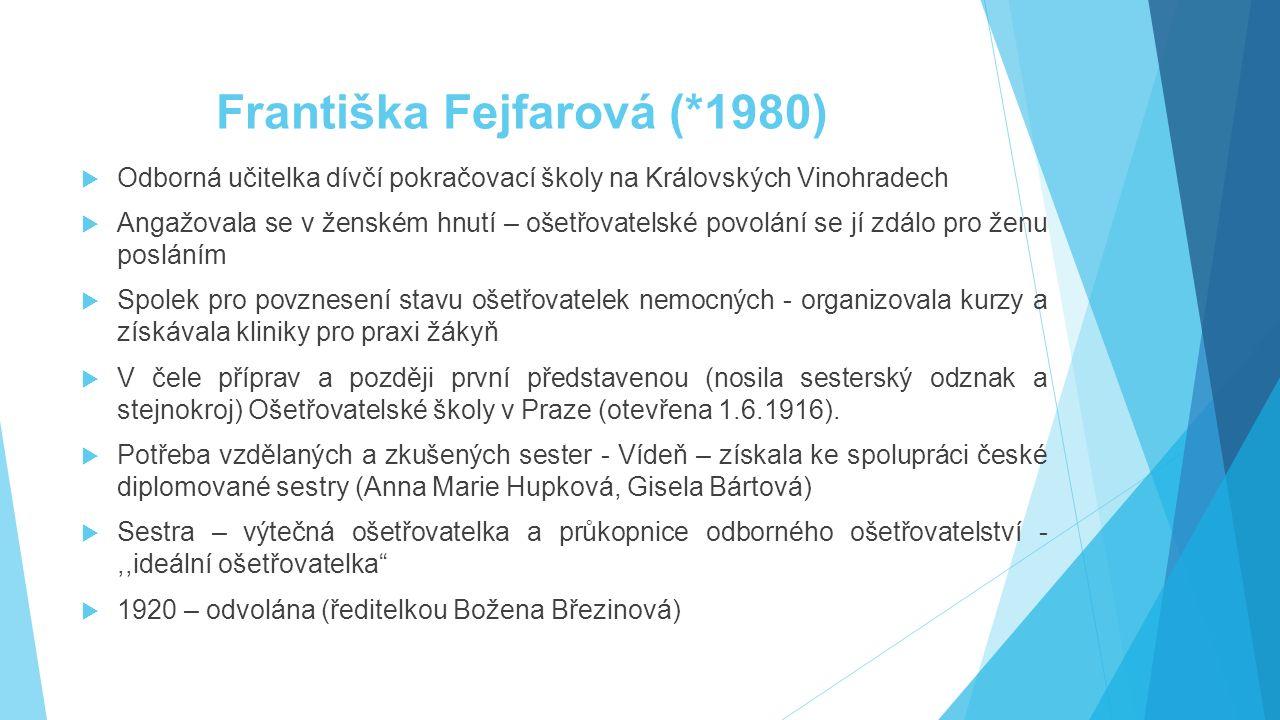 Františka Fejfarová (*1980)  Odborná učitelka dívčí pokračovací školy na Královských Vinohradech  Angažovala se v ženském hnutí – ošetřovatelské pov