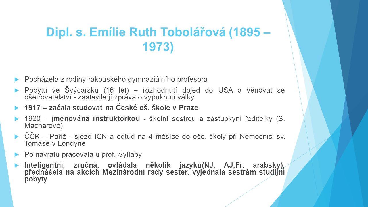 Dipl. s. Emílie Ruth Tobolářová (1895 – 1973)  Pocházela z rodiny rakouského gymnaziálního profesora  Pobytu ve Švýcarsku (16 let) – rozhodnutí doje
