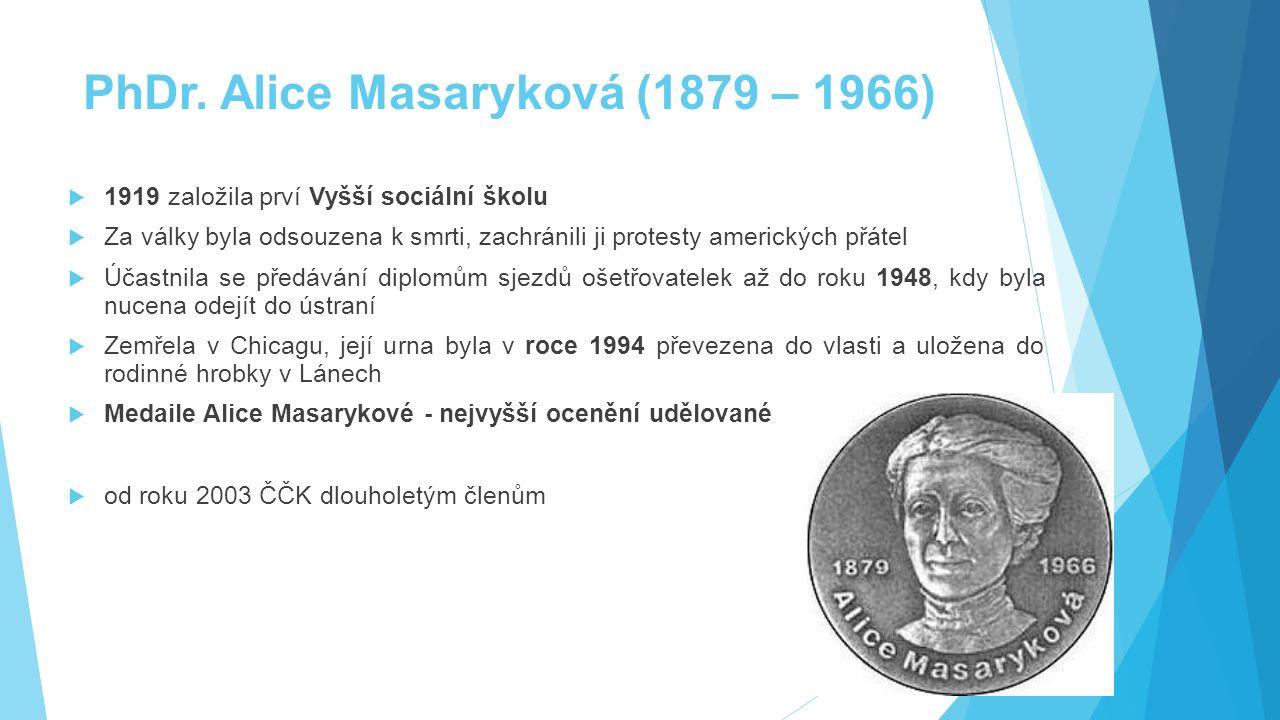 PhDr. Alice Masaryková (1879 – 1966)  1919 založila prví Vyšší sociální školu  Za války byla odsouzena k smrti, zachránili ji protesty amerických př