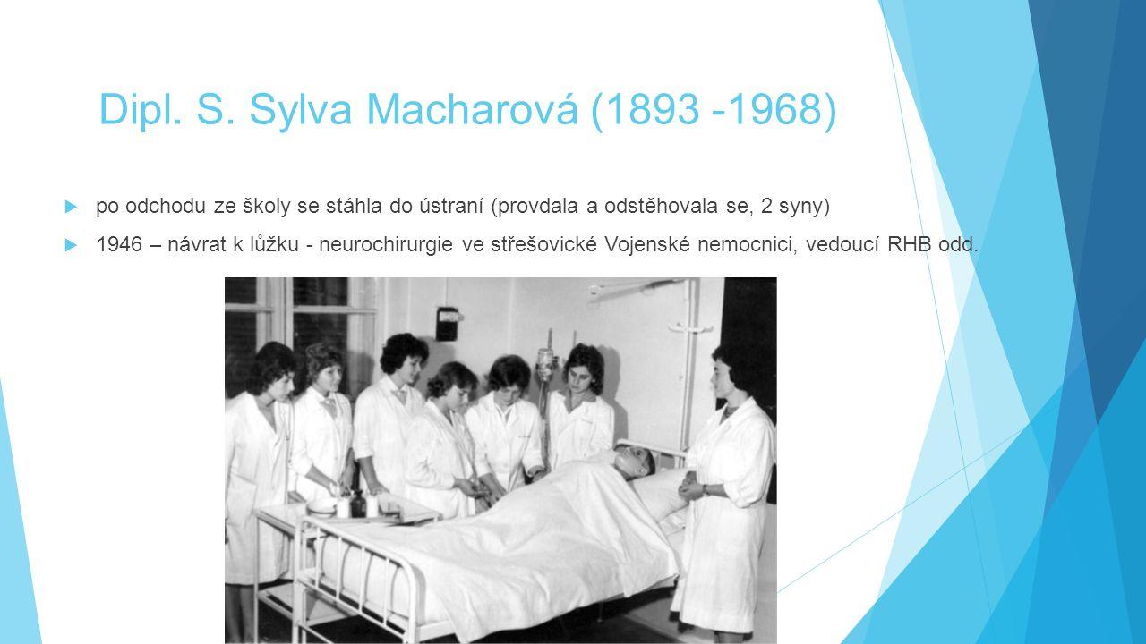 Dipl. S. Sylva Macharová (1893 -1968)  po odchodu ze školy se stáhla do ústraní (provdala a odstěhovala se, 2 syny)  1946 – návrat k lůžku - neuroch