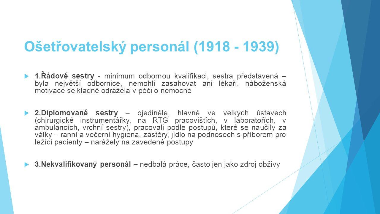 Ošetřovatelský personál (1918 - 1939)  1.Řádové sestry - minimum odbornou kvalifikaci, sestra představená – byla největší odbornice, nemohli zasahova