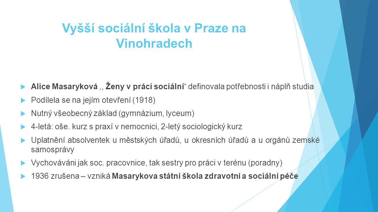 """Vyšší sociální škola v Praze na Vinohradech  Alice Masaryková,, Ženy v práci sociální"""" definovala potřebnosti i náplň studia  Podílela se na jejím o"""