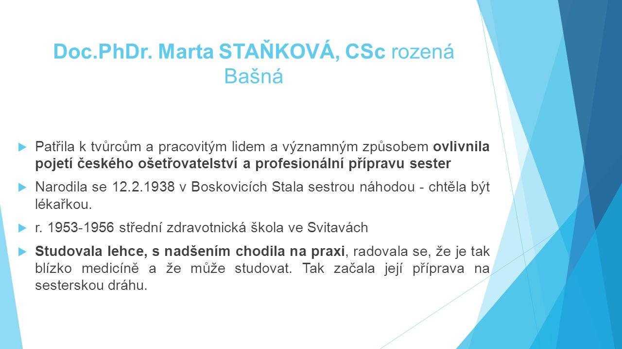Doc.PhDr. Marta STAŇKOVÁ, CSc rozená Bašná  Patřila k tvůrcům a pracovitým lidem a významným způsobem ovlivnila pojetí českého ošetřovatelství a prof