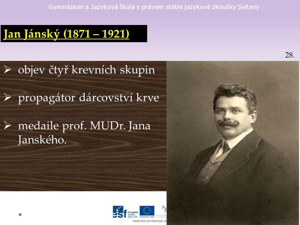 Gymnázium a Jazyková škola s právem státní jazykové zkoušky Svitavy Jan Jánský (1871 – 1921)  objev čtyř krevních skupin  propagátor dárcovství krve  medaile prof.