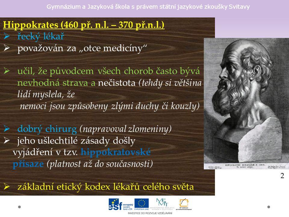 Gymnázium a Jazyková škola s právem státní jazykové zkoušky Svitavy Hippokrates (460 př.