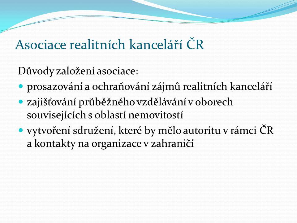 Asociace realitních kanceláří ČR Důvody založení asociace: prosazování a ochraňování zájmů realitních kanceláří zajišťování průběžného vzdělávání v ob