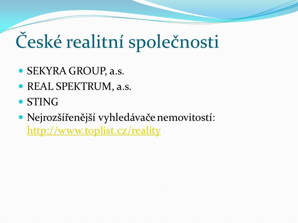 České realitní společnosti SEKYRA GROUP, a.s. REAL SPEKTRUM, a.s. STING Nejrozšířenější vyhledávače nemovitostí: http://www.toplist.cz/reality http://